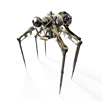 artists depiction of scary nanobot standing with 6 long sharp pointed legs and a single camera for an eye