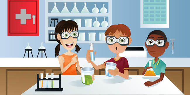 students in science lab clipart licensed from Shutterstock