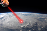 weather control satellite shooting laser at eye of large hurricane